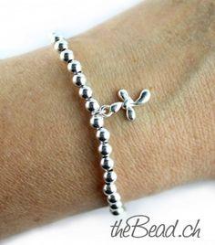 silver beads bracelet with a little cross / Silberperlen Armband mit kleinem Kreuz, aus 925 Sterling Silber