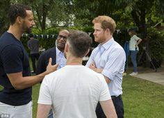 Opening up: Prince Harry and Rio Ferdinand discuss grief at a barbecue to promote mental health campaign group Heads Together at Kensington Palace earlier this month