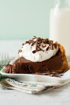 Chocolate Pudding Pie - used ready-made crust and cool whip, but it was still really good!