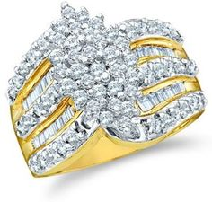 Size - 6.5 - 10k Yellow and White Two 2 Tone Gold Large Marquise Shape Cluster Round Cut & Baguette Diamond Engagement Wedding Ring Band 15mm (1.02 cttw)  http://electmejewellery.com/jewelry/wedding-anniversary/engagement-rings/size-65-10k-yellow-and-white-two-2-tone-gold-large-marquise-shape-cluster-round-cut-baguette-diamond-engagement-wedding-ring-band-15mm-102-cttw-com/