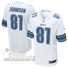 Camisetas Nfl Baratas Johnson Detroit Lions #81 Blanco  €32.9