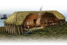The Vikings lived in long houses, warriors, women, children, slaves and cattle all together.