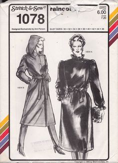 Stretch and Sew 1078 Raincoat Designed by OutoftheConex on Etsy