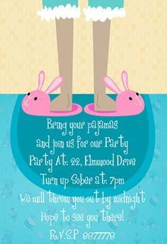 """Bring your pajamas"" printable invitation. Customize, add text and photos. print for free!"