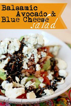 Balsamic Avocado and Blue Cheese Salad by @mommynamedapril at MamaLovesFood.com #mamalovesfood