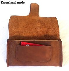 Classic hand made brown leather tobacco pouch a by kerenhandmade, $47.00