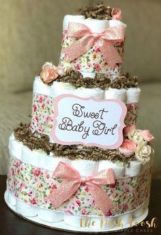Vintage Spring Floral Diaper Cake Baby Shower by ThePoshToosh Idee Baby Shower, Fiesta Baby Shower, Baby Shower Vintage, Baby Shower Flowers, Baby Shower Diapers, Floral Baby Shower, Baby Shower Cakes, Baby Shower Themes, Baby Boy Shower