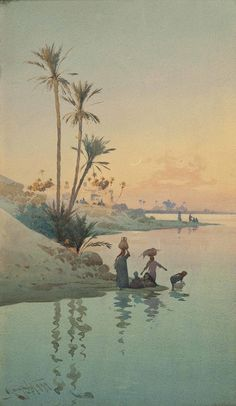 """Call of the desert, the watercolors of Augustus Osborne Lamplough Watercolor Landscape, Landscape Art, Watercolor Paintings, Watercolors, River Bank, Funny Video Memes, Art Archive, Egyptian Art, Dark Ages"