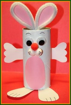 Bunny Crafts for Kids - A cute bunny rabbit out of a paper roll!