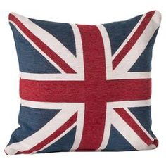 Large Britannia Pillow in Red. cheers to the baby prince