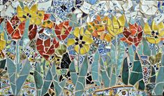 "Porcelain and Tulips                                             24"" x 42""                                                 mosaic panel © 2003 by Artist Therese Desjardin Studio"