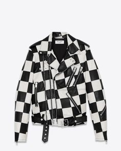 Saint Laurent Multi-Zip Motorcycle Jacket In Black and White Ivory Leather - 10 000 € Cl Fashion, Mens Fashion, Ysl, Mens Zip Up Jackets, Men's Jackets, Leather Jackets, Revival Clothing, Men's Clothing, Fete Halloween