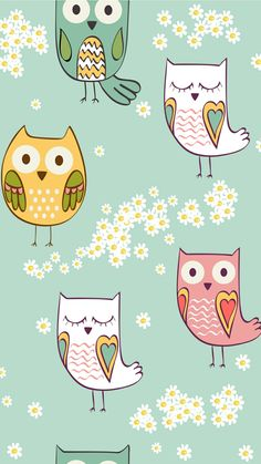 Owls and Daisies Owl Wallpaper Iphone, Cute Owls Wallpaper, Cute Christmas Wallpaper, Iphone Background Wallpaper, Animal Wallpaper, Disney Wallpaper, Flower Wallpaper, Pattern Wallpaper, Iphone Wallpaper