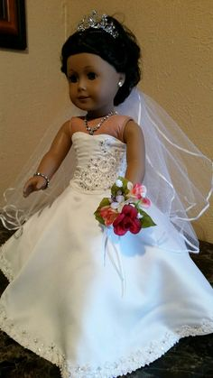 Pleated Train Bride Dress for American Girl dolls by NormasSpecialDays on Etsy  $135.00