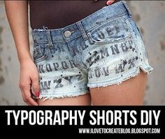 DIY jeans refashion: DIY Typography Denim Shorts