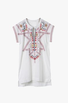 White Breeze Cotton Embroidered Mini Shirt Dress