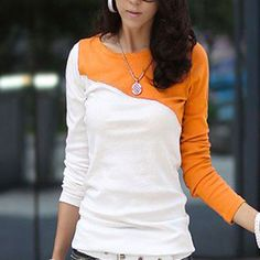 1Pc Orange Female TShirts For Women Long Sleeve Top Autumn Women's T Shirt Casual T-Shirt Women Tee Shirt Feminino