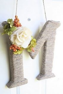 Easy projects  Wood letters Yarn Fake flowers