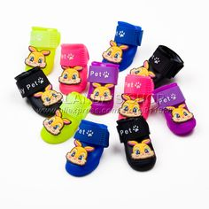 Rainbow Colors Stay On Doggie Booties Waterproof Protective Rubber Rain Shoes 4pcs/set Anti Slip #miniaturepinscherlovers