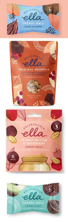 Here Design Celebrates Diversity, Freedom and Creativity of the Plant World With This Brand Refresh Deliciously Ella has unveiled a colourful brand refresh for its range of plant-based foods, with creative design and strategy by Here Design. Packaging Box, Pretty Packaging, Brand Packaging, Organic Packaging, Coffee Packaging, Food Branding, Food Packaging Design, Packaging Design Inspiration, Branding Design