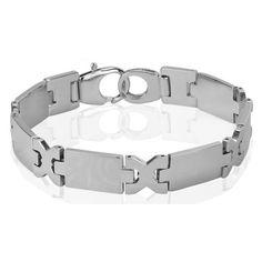 "ALPHA MAN ""Maverick by Nature"" Stylish Surgical Stainless Steel Men's Silver Bracelet - Online Shopping for Bracelets n Bangles by ALPHA MAN"