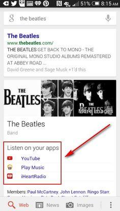 Google anunció una nueva y útil característica en el Buscador de Google para Android, ahora cuando buscan por banda o cantante, en los resultados les ofrece escuchar su música en sus aplicaciones favoritas, esas que tienen instaladas en su terminal.