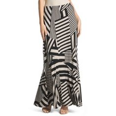 Chico's Patched Optic-Stripe Maxi Skirt
