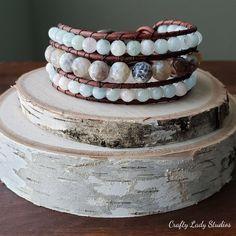 Fire agate and morganite leather cuff bracelet