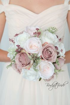 Ballet Pink Davids Bridal Wedding Flowers with blush, ballet and ivory roses with foliage #weddingflowers