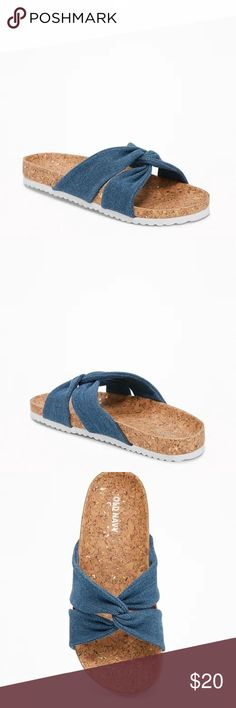 fa41235545 Old Navy Knotted Denim Cross-Strap Sandals for Gir Durable denim upper,  with knotted