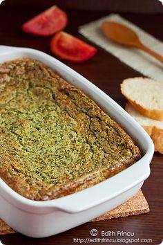 Sufleu de spanac cu cascaval Quiche, Fries, Food And Drink, Baking, Breakfast, Ethnic Recipes, Mariana, Salads, Morning Coffee