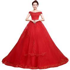 Partiss Lang Prinzessin Tuell Hof-Schleppe Brautkleider Hochzeitskleider,L,Rot