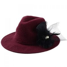$9.47 Chic Retro Style Faux Pearl Bow Embellished Women's Fedora