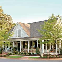 Farmhouse Revival Plan #1821 - 17 House Plans with Porches - Southern Living; Saw this in Senoia, GA!