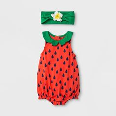 Baby Girls' 2pc Strawberry Romper and Flower Headband Set - Cat & Jack™ Red : Target
