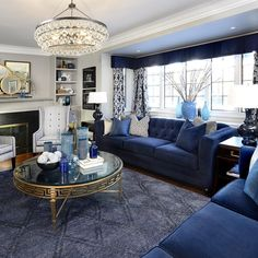 10 Canadian celebrity designers dish on their best design tips Blue Living Room Decor, Living Room Goals, Decor Interior Design, Interior Design Living Room, Interior Decorating, Decorating Ideas, Navy Blue Decor, British Colonial Decor, Glam House