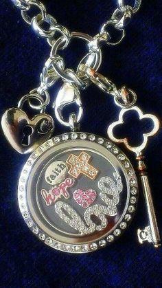 Silver Large Locket w/Crystals :-)