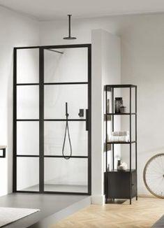 Impey Soho Black Hinged Door with Inline Panel Enclosure : UK Bathrooms Cabin Interior Design, Contemporary Interior Design, Soho, Zaha Hadid Interior, Black Shower, Pivot Doors, Shower Screen, Black Doors, Bathroom Colors