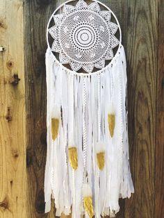 White Lace Crochet Doily Shabby Chic Boho Gypsy by Unicorns4Evaa