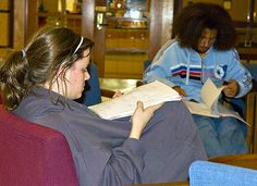 Elaine Ragland and senior Kyle Roberts found Mitchell Memorial Library is a good locale for concentrating.