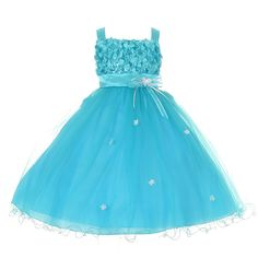What a precious special occasion dress for your girl by Shanil Inc.! She is going to feel like a princess in this aqua tulle skirt and ribbon bodice dress. The delicate satin sash is adorned with a flower decoration that makes it even more special. Dress