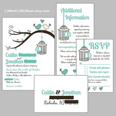 DIY Birdcage Wedding Invitation Inserts by LittlestLittleBean, $50.00
