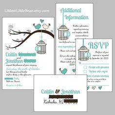 DIY Birdcage Wedding Invitation Inserts by LittlestLittleBean, $50.00
