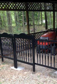 Repurposed crib into gate.