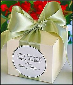 satin ribbon in soft green with label ...filled with christmas treats <3