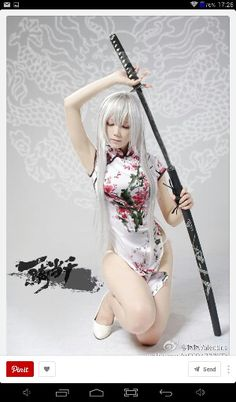 Shiryuu Chou-un - Ikkitousen cosplay Totoro, Yandere, Coldplay, Female Action Poses, Sword Poses, Katana Girl, Female Samurai, Shotokan Karate, Black Anime Characters