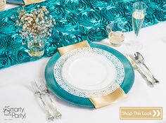 Smarty Had a Party Place Setting: Turquoise and Gold