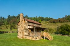 """This tiny cabin in the Virginia highlands was returned to its antebellum glory. During the six-month renovation, the crumbling foundation was shored up, the chimney rebuilt and upstairs windows added.  """"The cabin was about 80 percent American chestnut, but there was some pine in there, too,"""" says the builder, who handled the project. """"The pine was damaged, so we replaced it with old-growth poplar."""""""
