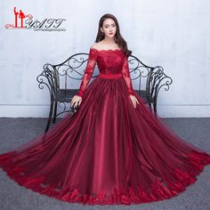 Evening Dress Long Formal Evening Gown Elegant Burgundy Lace Gown Robe De  Soiree Wedding Prom Dress 6896c6a897ae