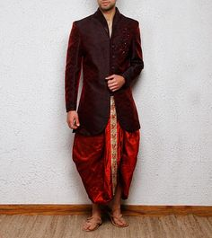 Dhoti with Maroon Jacket, a perfect mixture of traditional and western outfit
